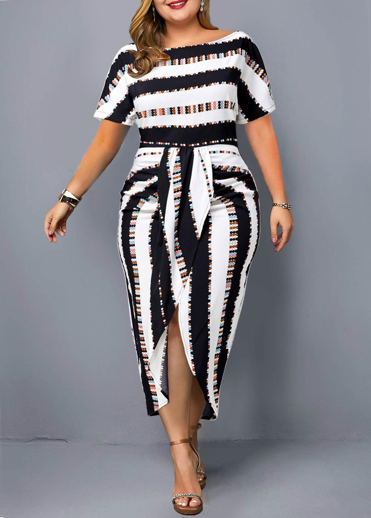 Striped Plus Size Tie Front Dress
