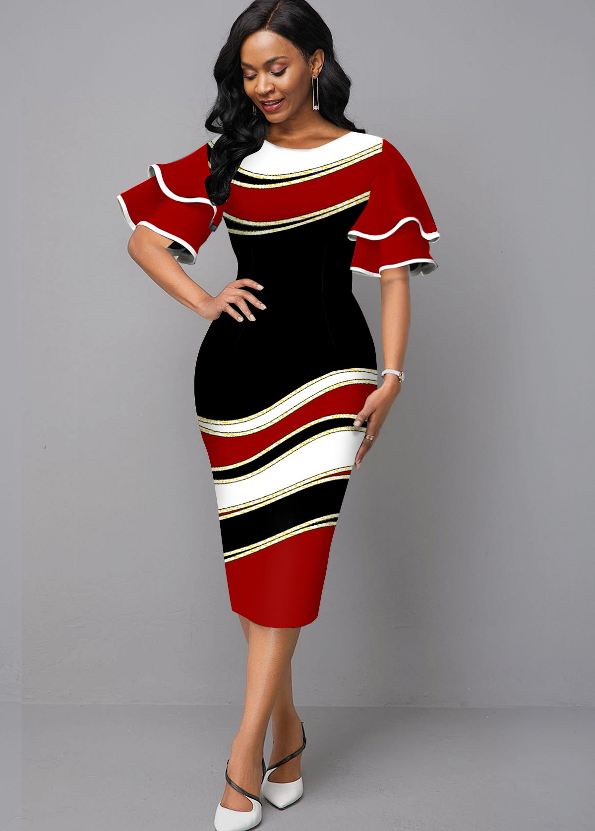 Ruffle Sleeve Round Neck Geometric Print Dress