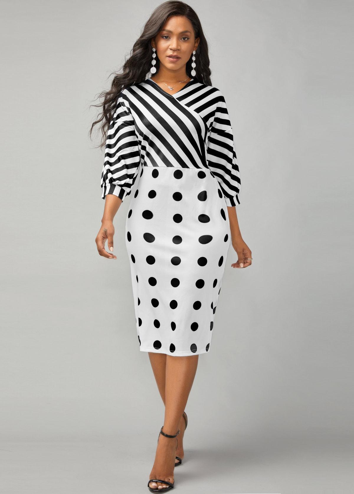 Stripe and Polka Dot Print Lantern Sleeve Dress
