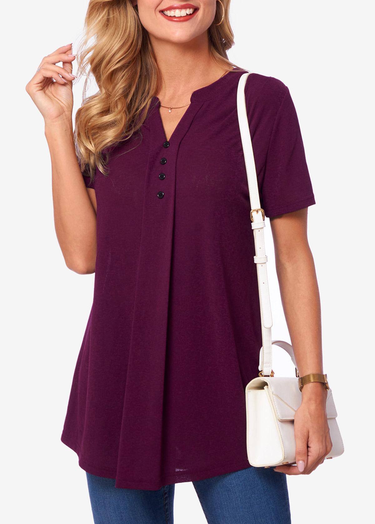 Solid Deep Purple Short Sleeve Split Neck T Shirt