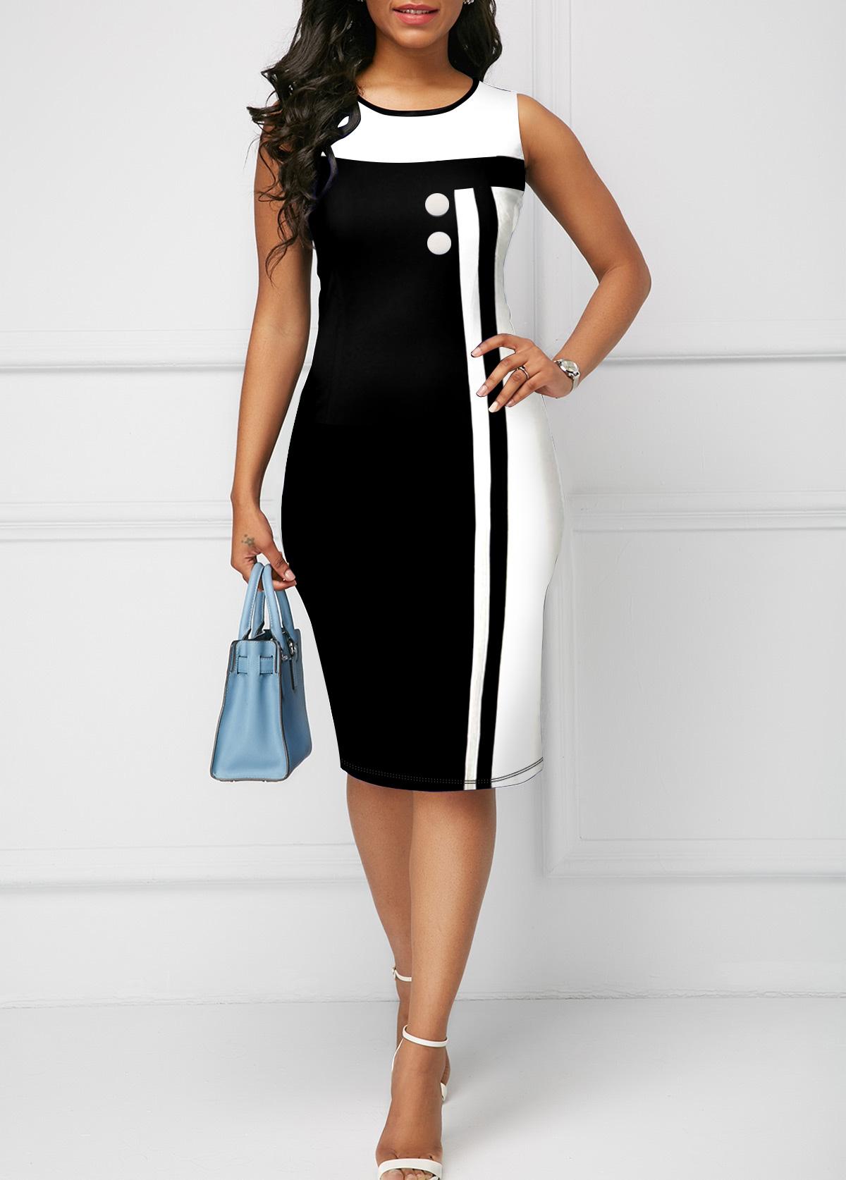 Round Neck Sleeveless Contrast Bodycon Dress