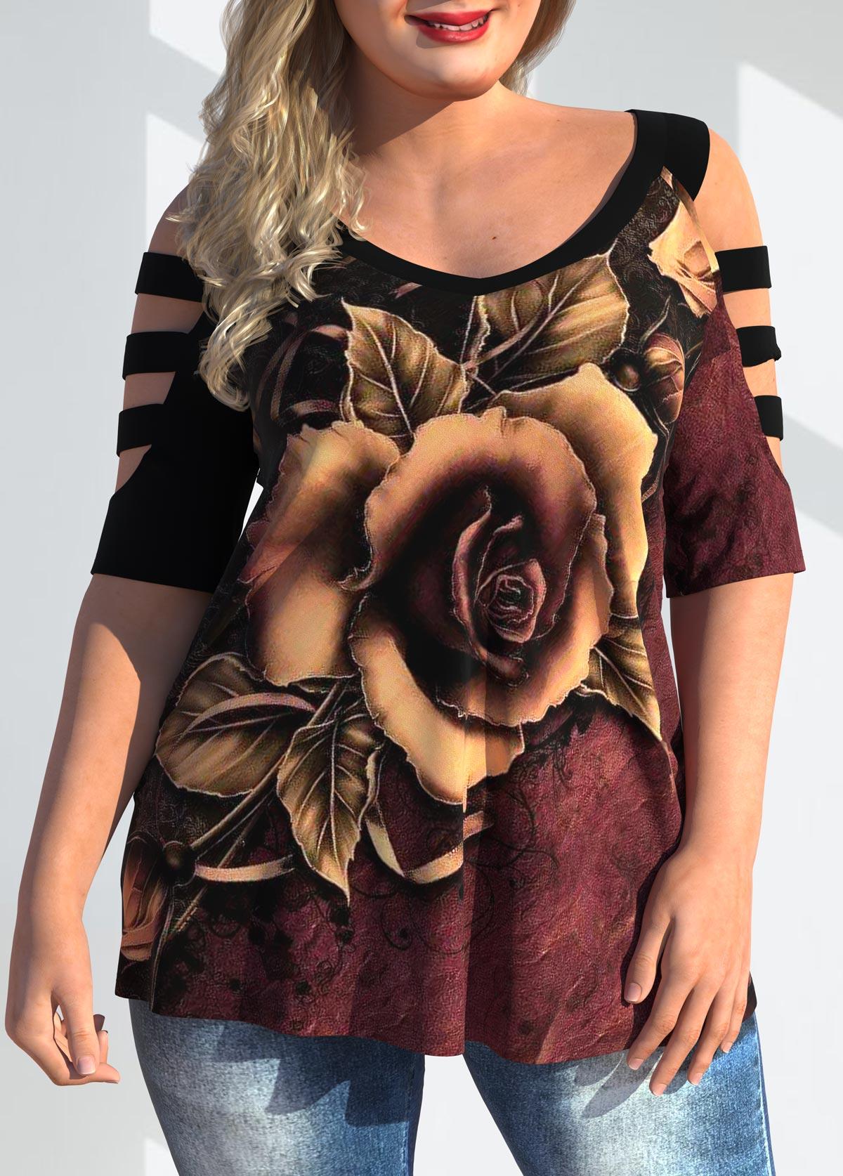 Ladder Cutout Plus Size Floral Print T Shirt
