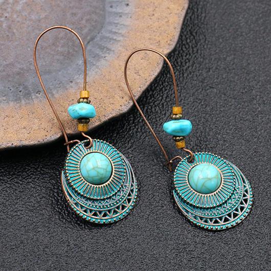 Turquoise Retro Metal Detail Earring Set