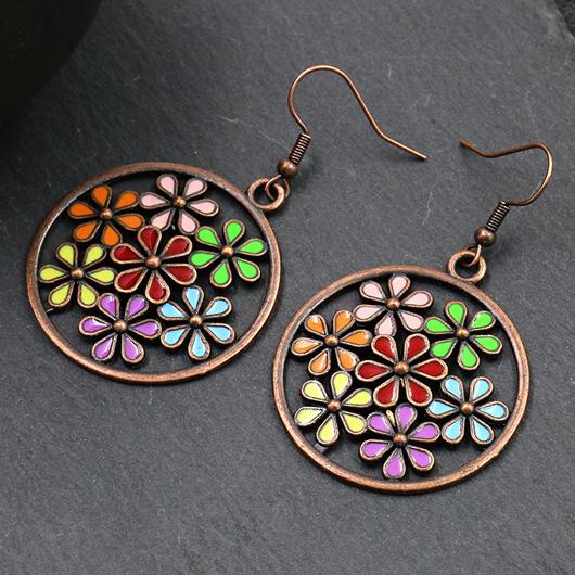 Circle Design Floral Detail Metal Earring Set