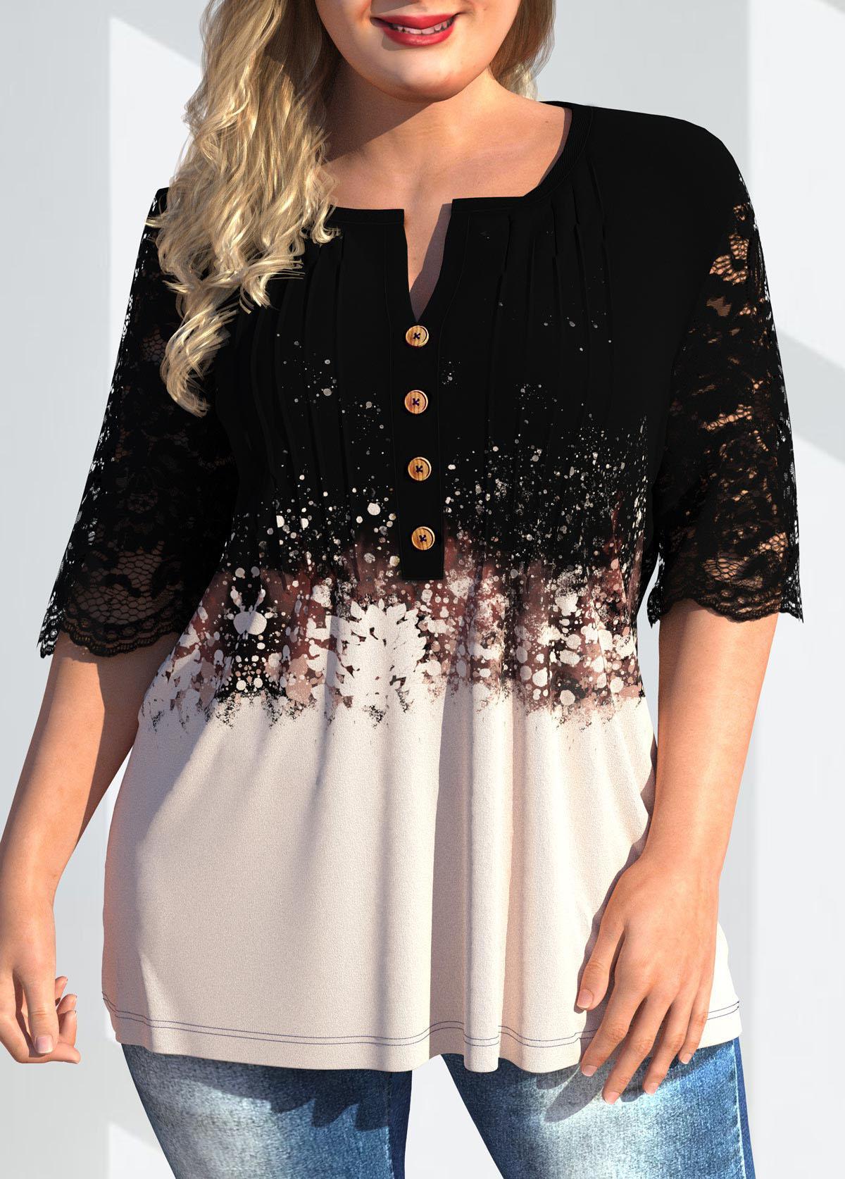 Lace Patchwork Plus Size Split Neck T Shirt