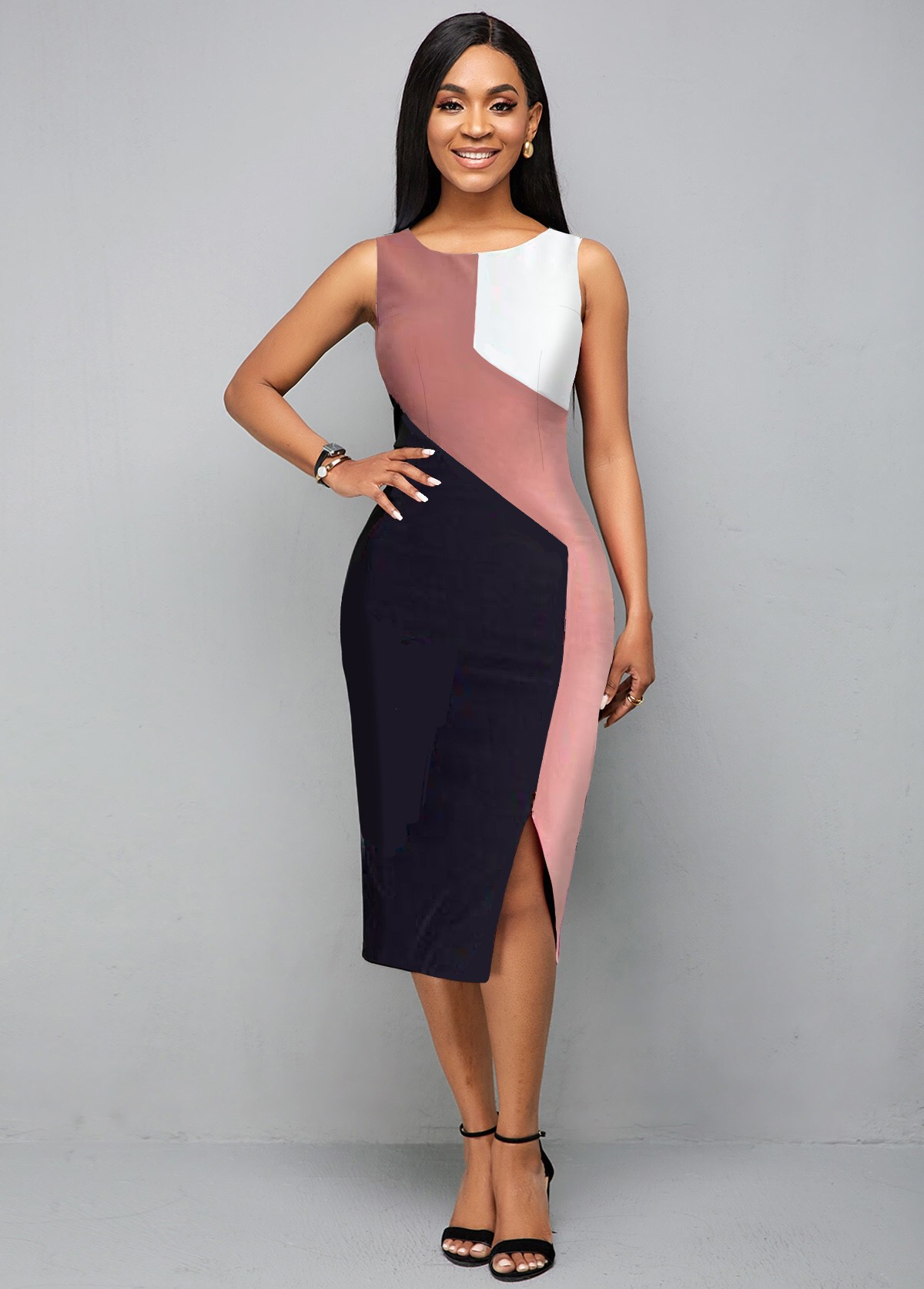 Round Neck Color Block Sleeveless Dress