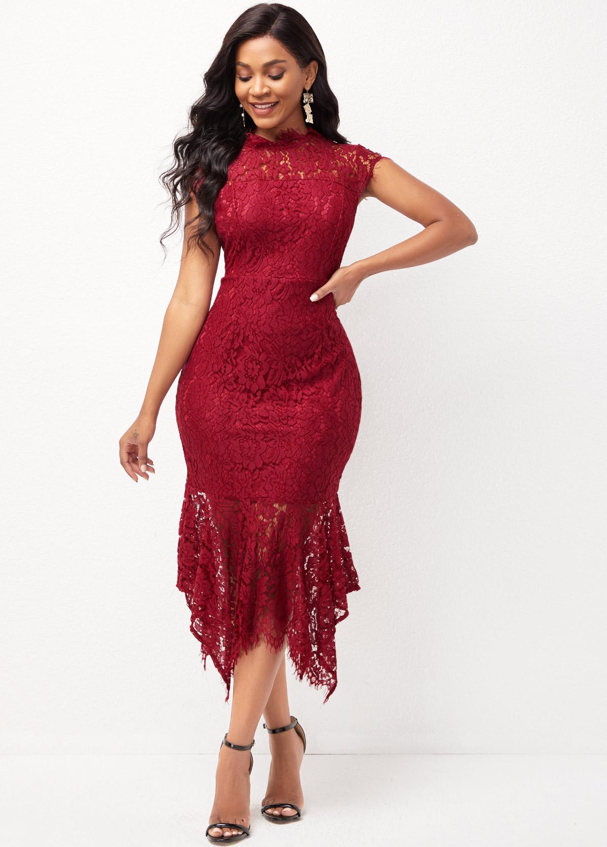 Lace Asymmetric Hem Short Sleeve Mock Neck Dress