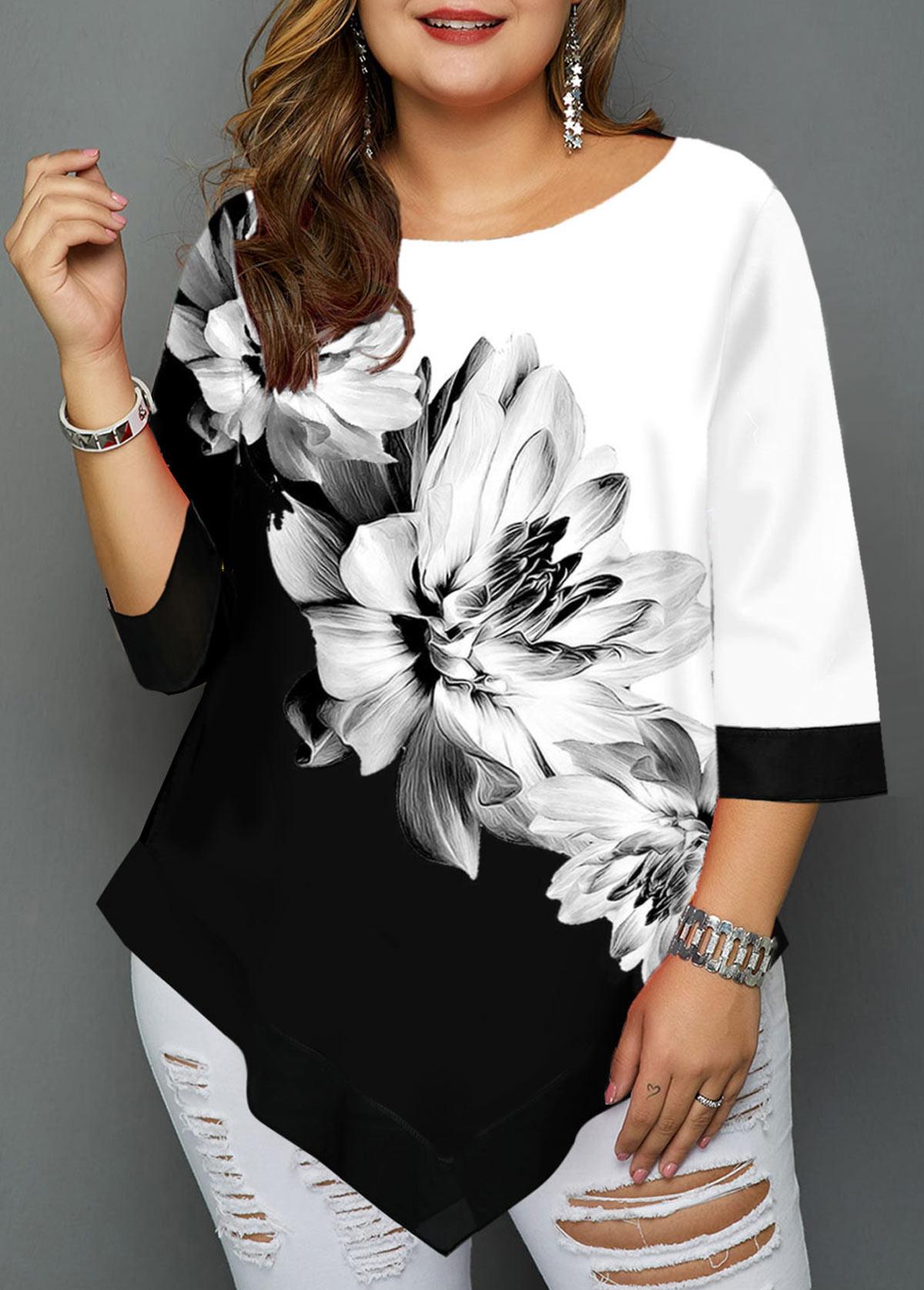 Asymmetric Hem Plus Size Floral Print T Shirt