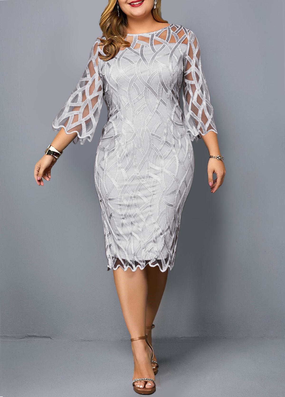 Round Neck 3/4 Sleeve Plus Size Dress