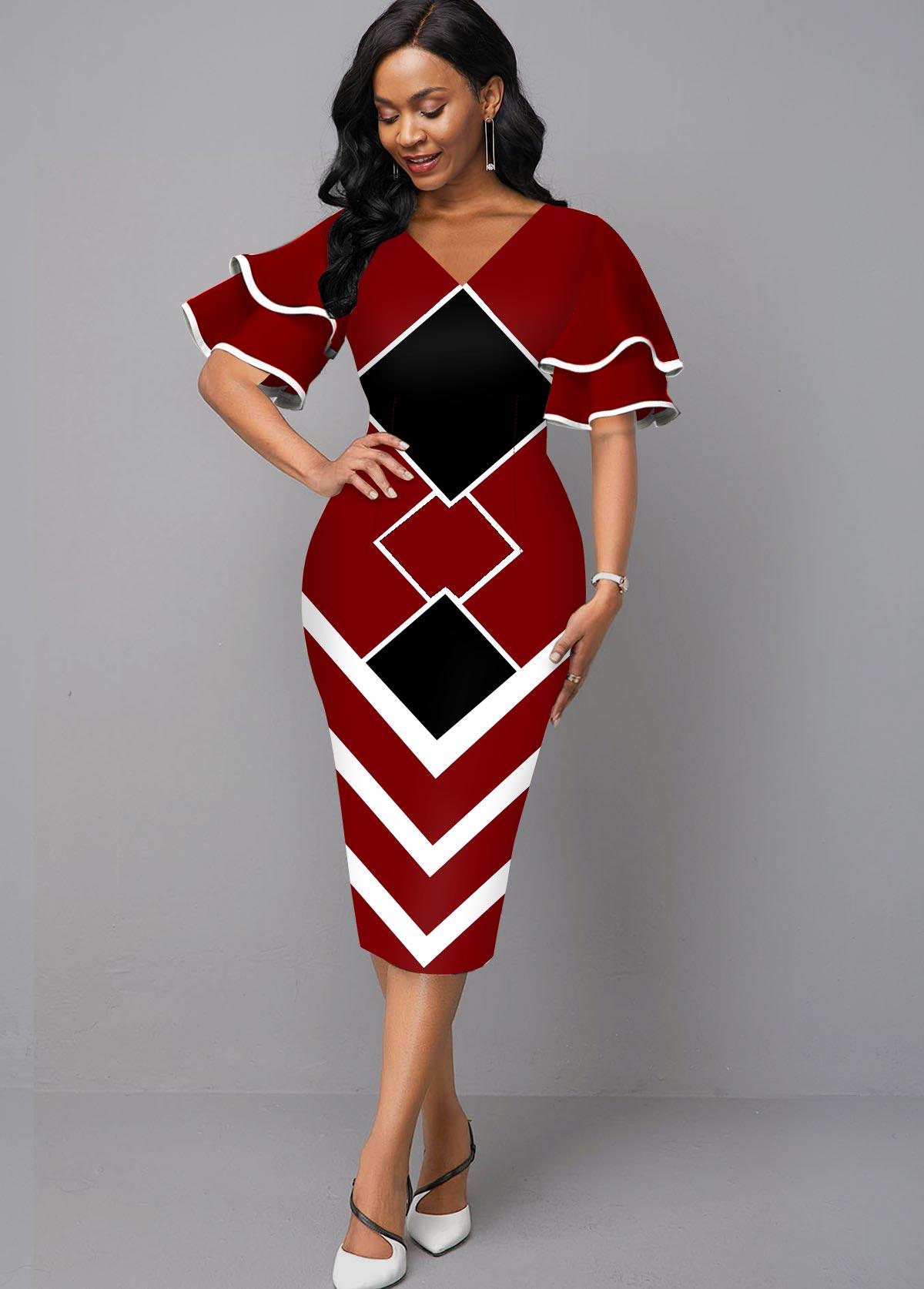 Geometric Print Layered Bell Sleeve V Neck Dress