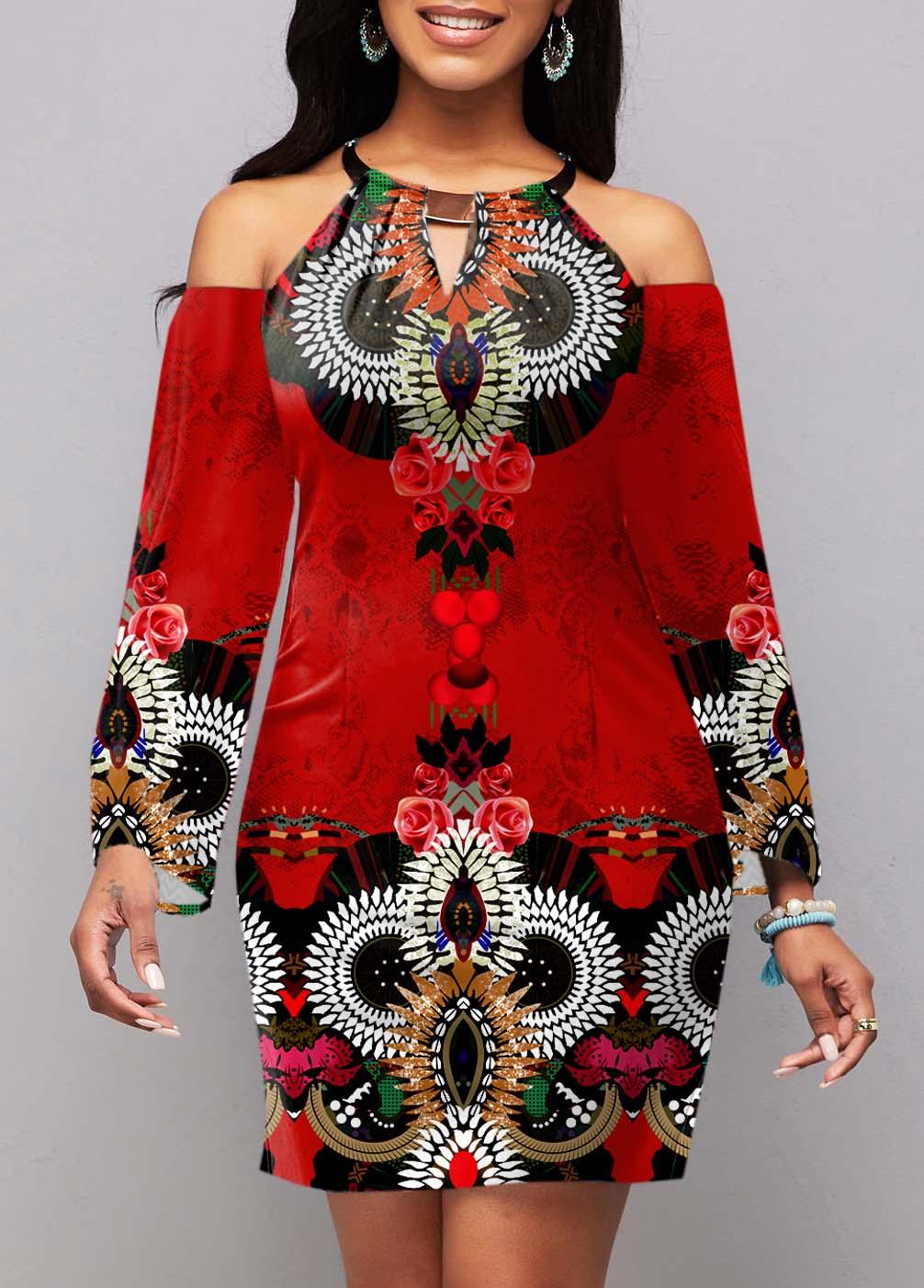 Cold Shoulder Tribal Print Long Sleeve Dress