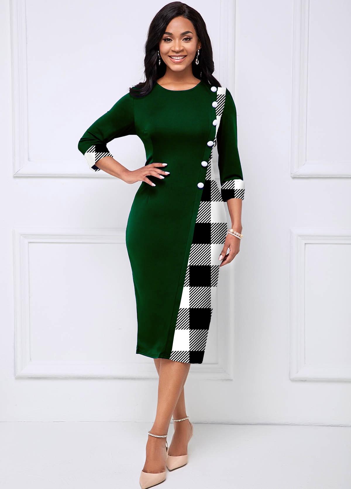 Decorative Button Checkered Round Neck Dress