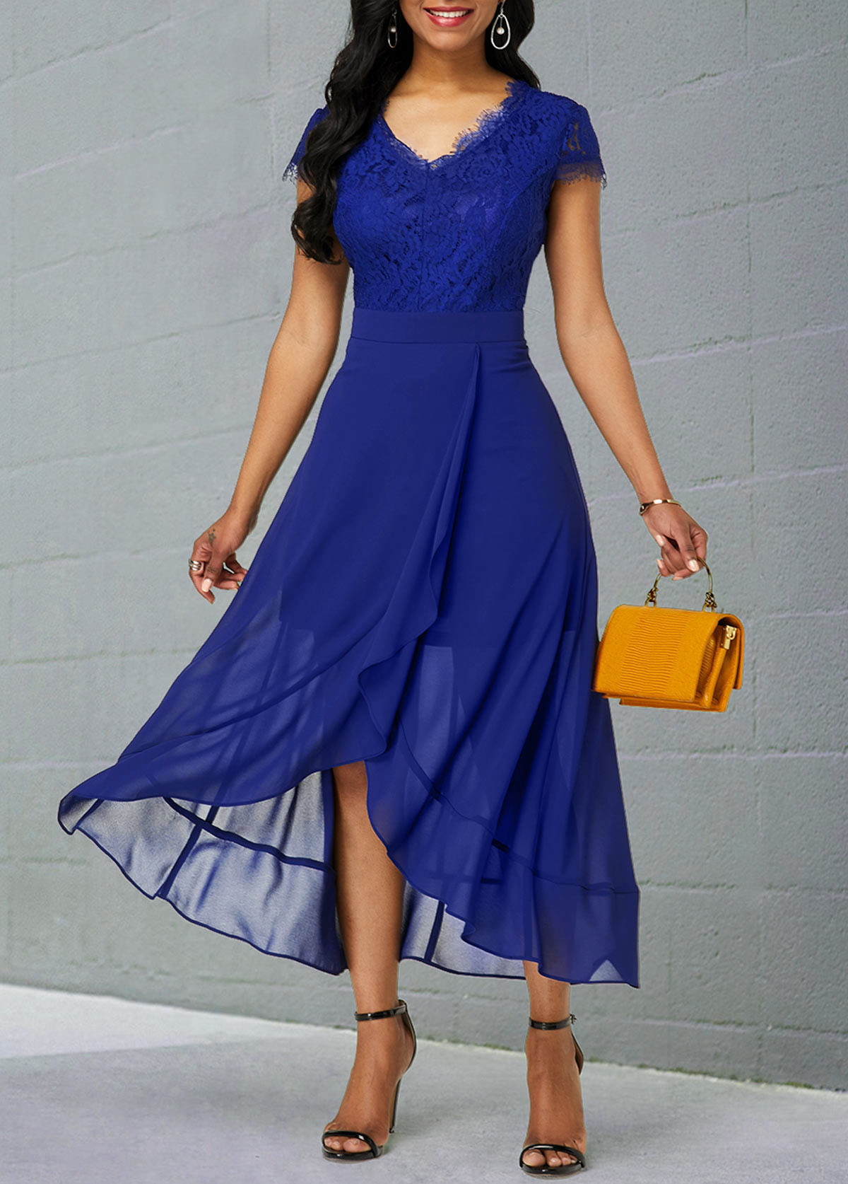 Lace Patchwork Chiffon Short Sleeve Dress