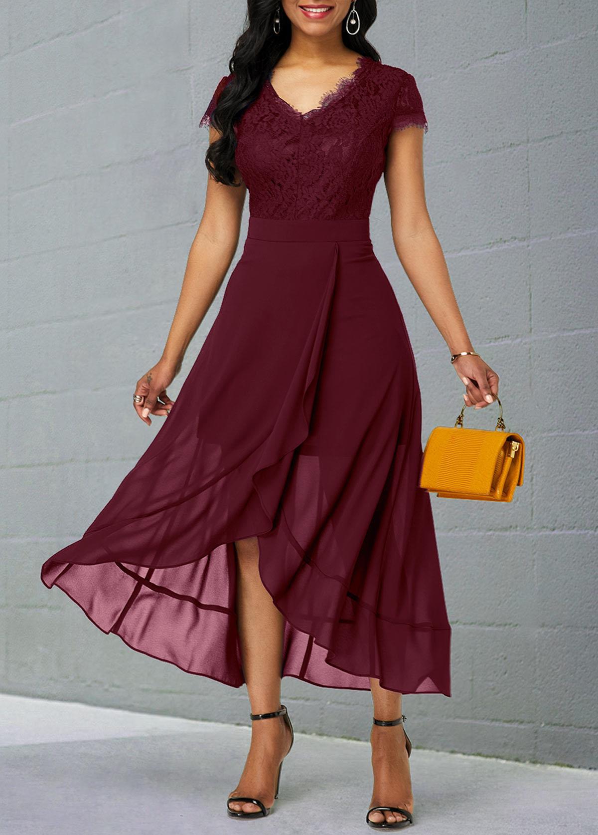 Lace Patchwork Short Sleeve Chiffon Dress
