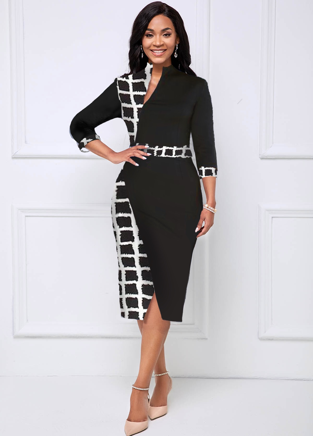 Plaid 3/4 Sleeve Crossover Hem Dress