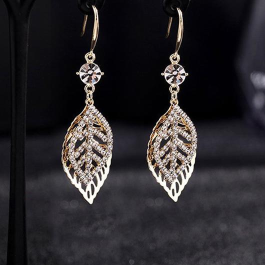 Rhinestone Detail Leaf Design Metal Earring Set
