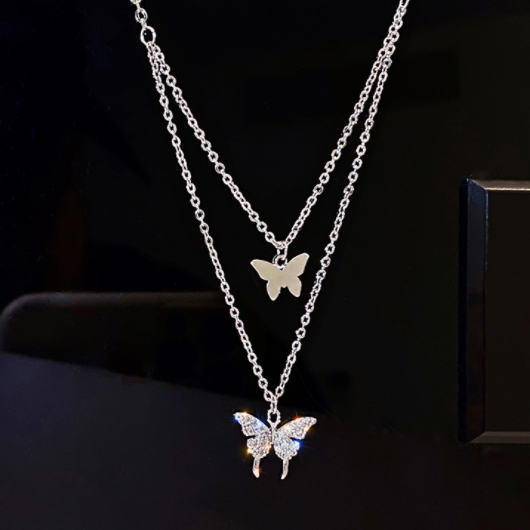 Butterfly Design Layered Gold Metal Necklace