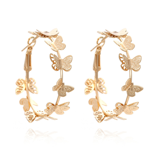 Butterfly Design Circle Detail Gold Earring Set