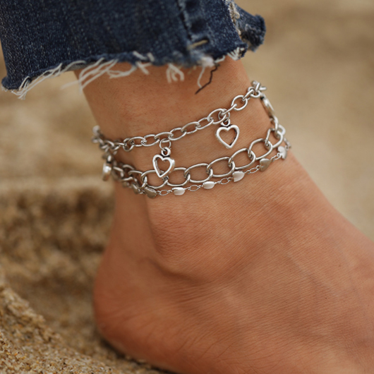 Metal Heart Pendant Silver Anklets