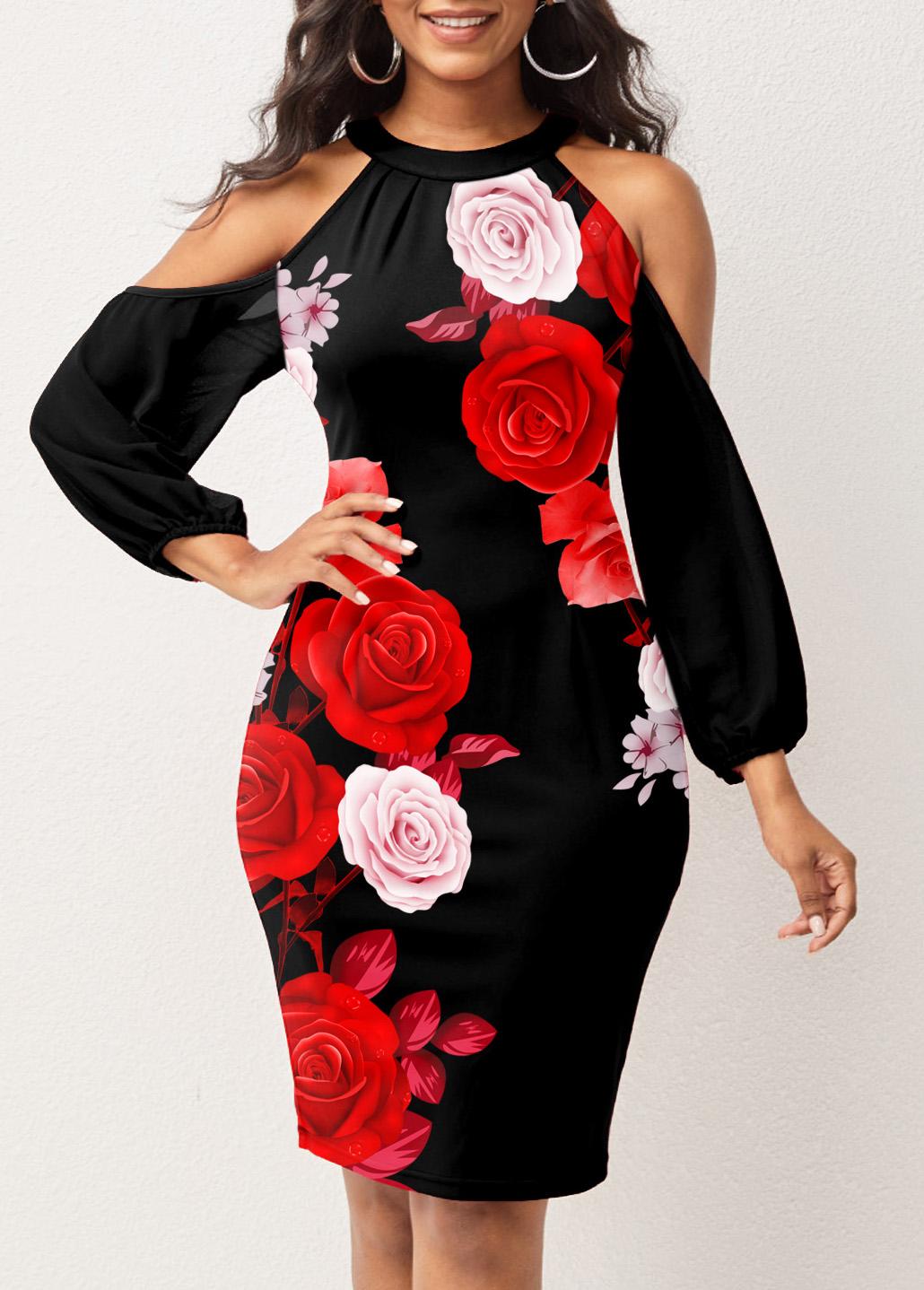 Cold Shoulder Floral Print Lantern Sleeve Dress