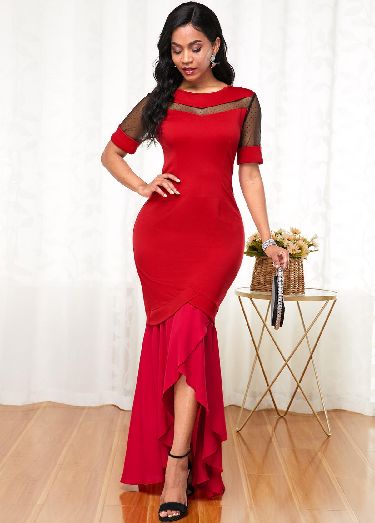 Short Sleeve Round Neck Mesh Stitching Dress