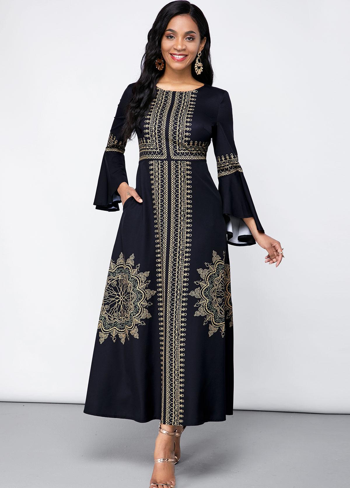 Double Side Pockets Round Neck Tribal Print Dress