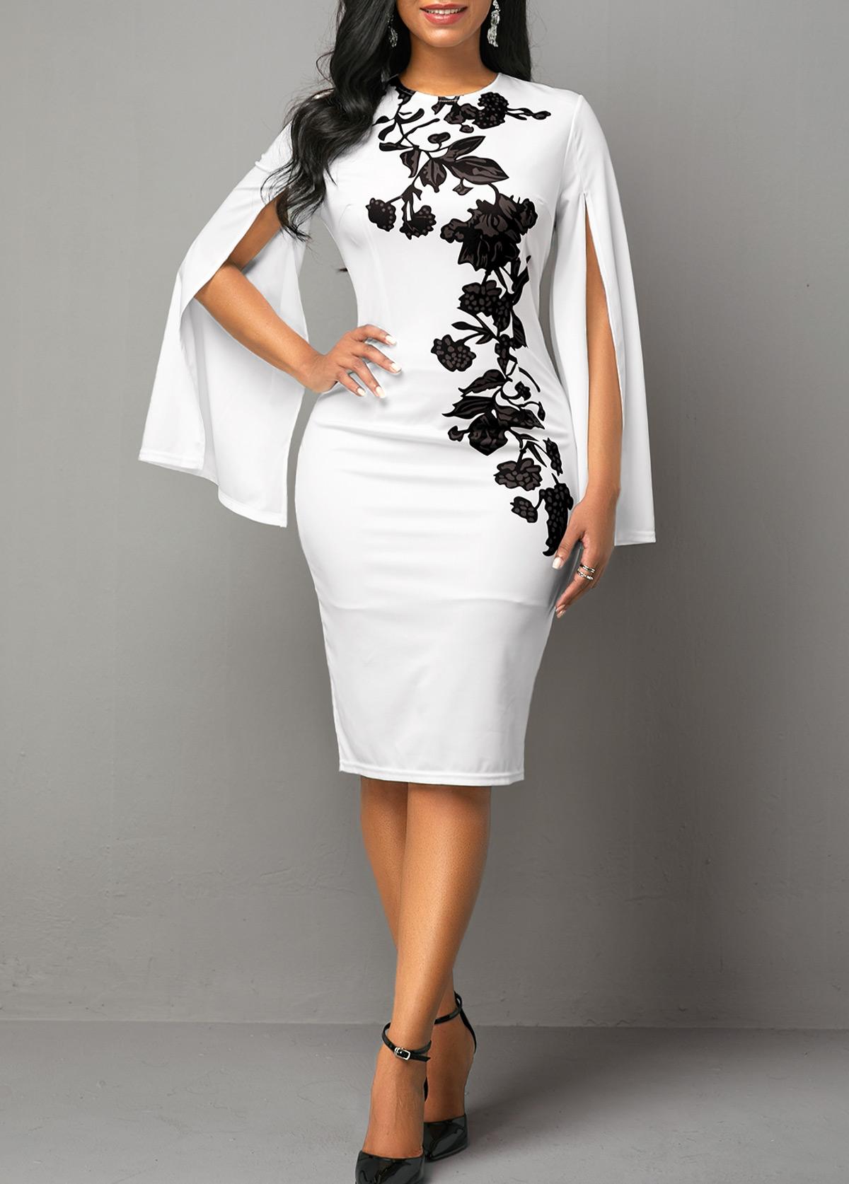 Round Neck Floral Print Cape Sleeve Dress