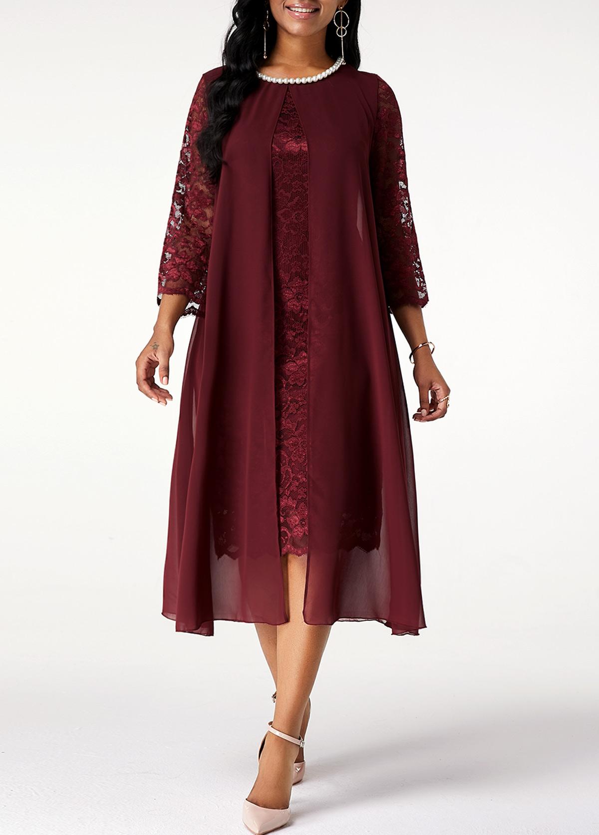 Chiffon Lace Stitching Pearl 3/4 Sleeve Dress
