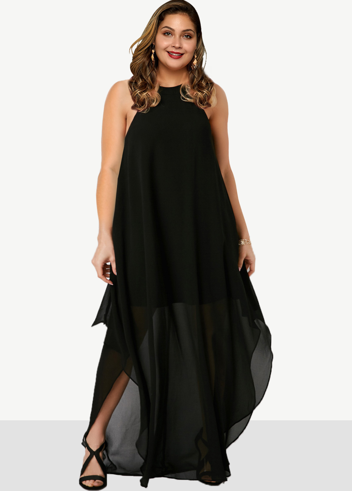 Side Slit Plus Size Solid Dress