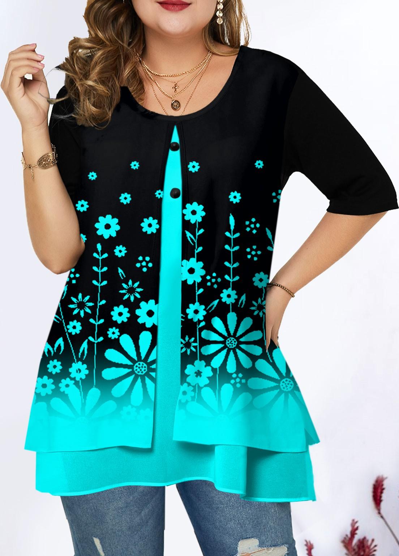 Plus Size Ombre Floral Print T Shirt