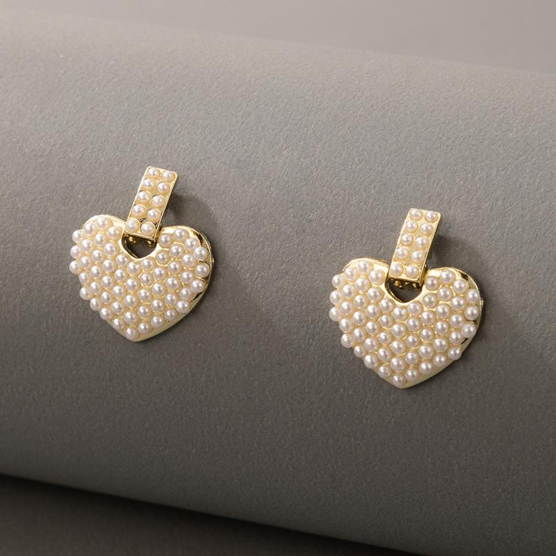 Heart Design Pearl Detail Earring Set
