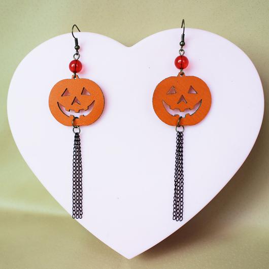 Pumpkin Design Chain Tassel Orange Earring Set