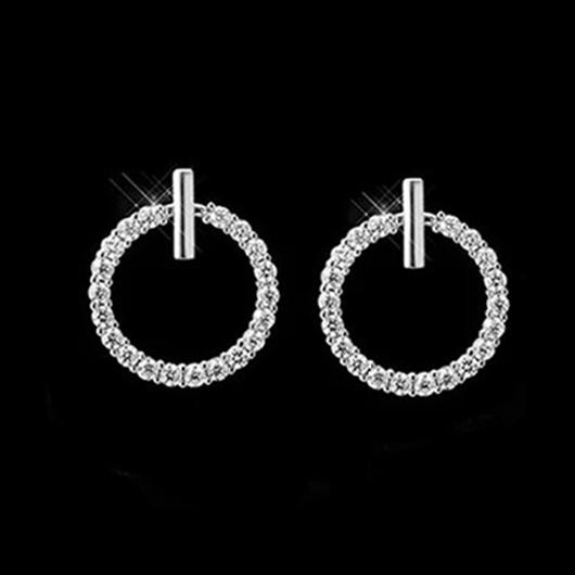Rhinestone Detail Circle Design Metal Earring Set