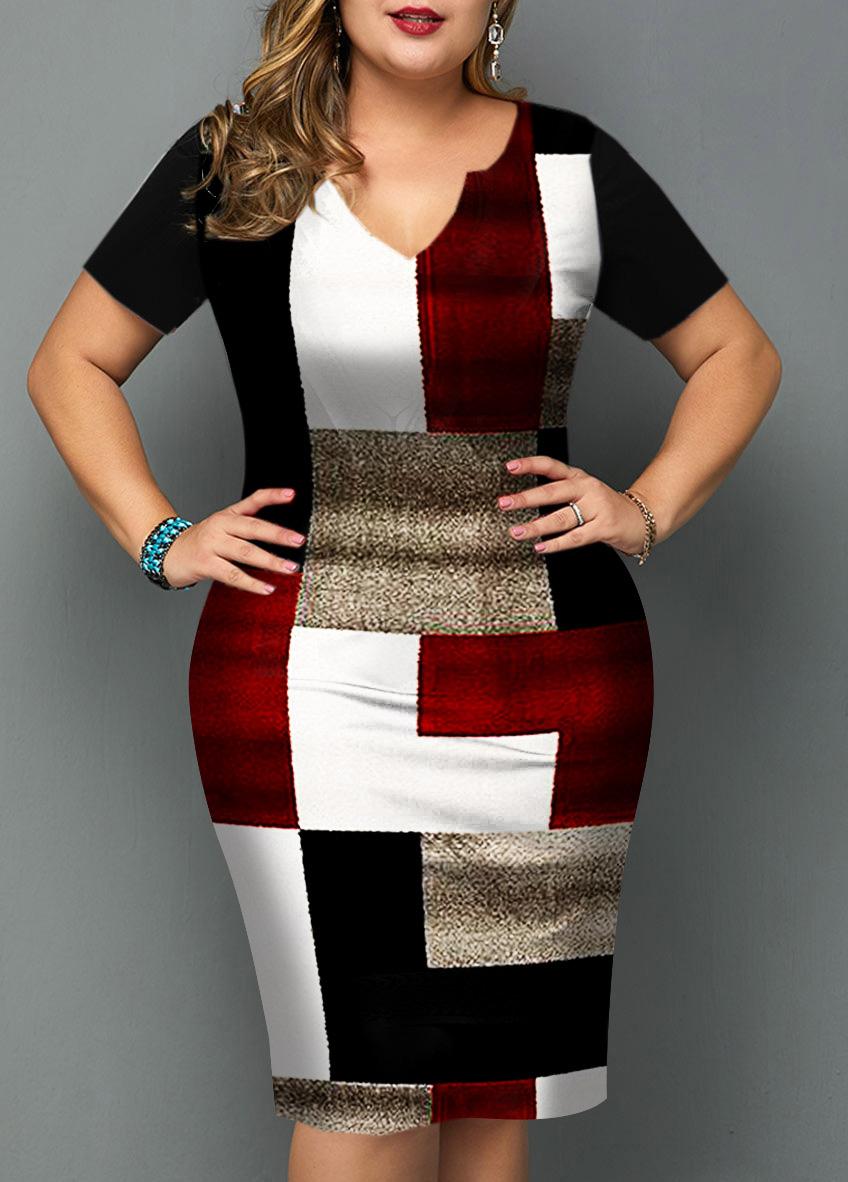 Plus Size Geometric Print Short Sleeve Dress