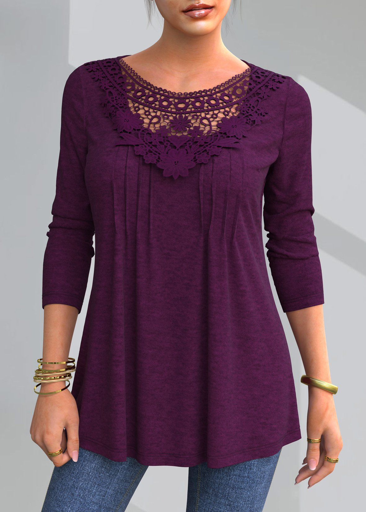 Lace Patchwork Solid Round Neck T Shirt