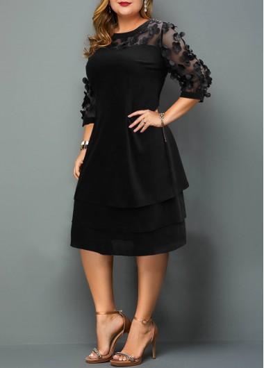 Modlily Plus Size Mesh Stitching Layered Hem Dress - 2X