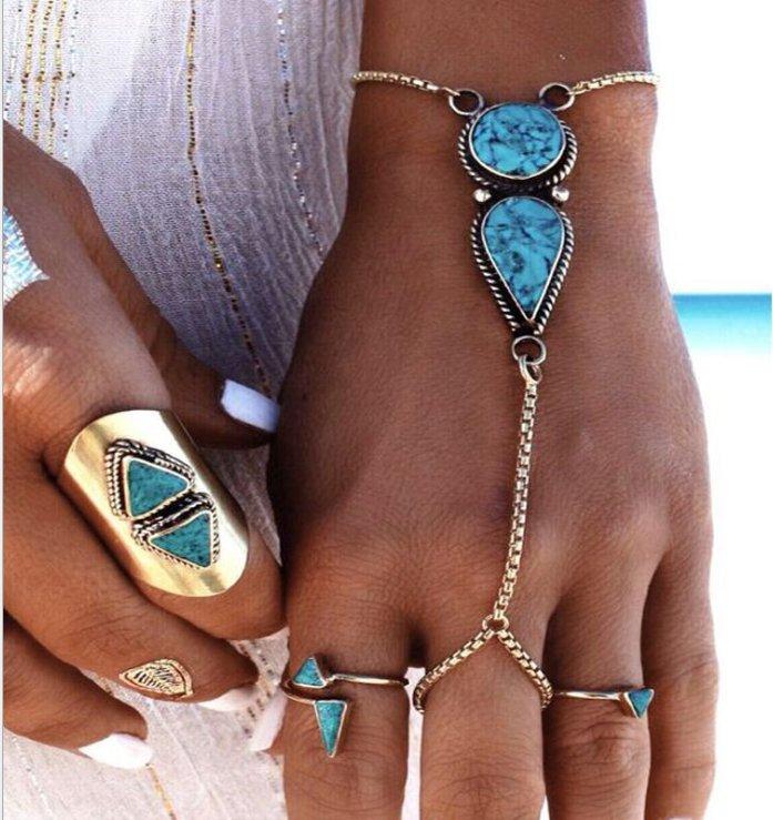 Turquoise Silver Metal Detail Bohemia Bracelet