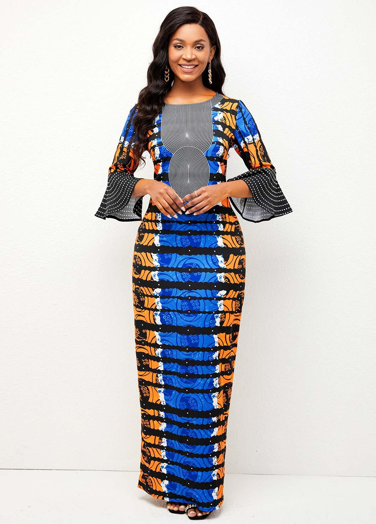 Tribal Print Round Neck Back Slit Dress