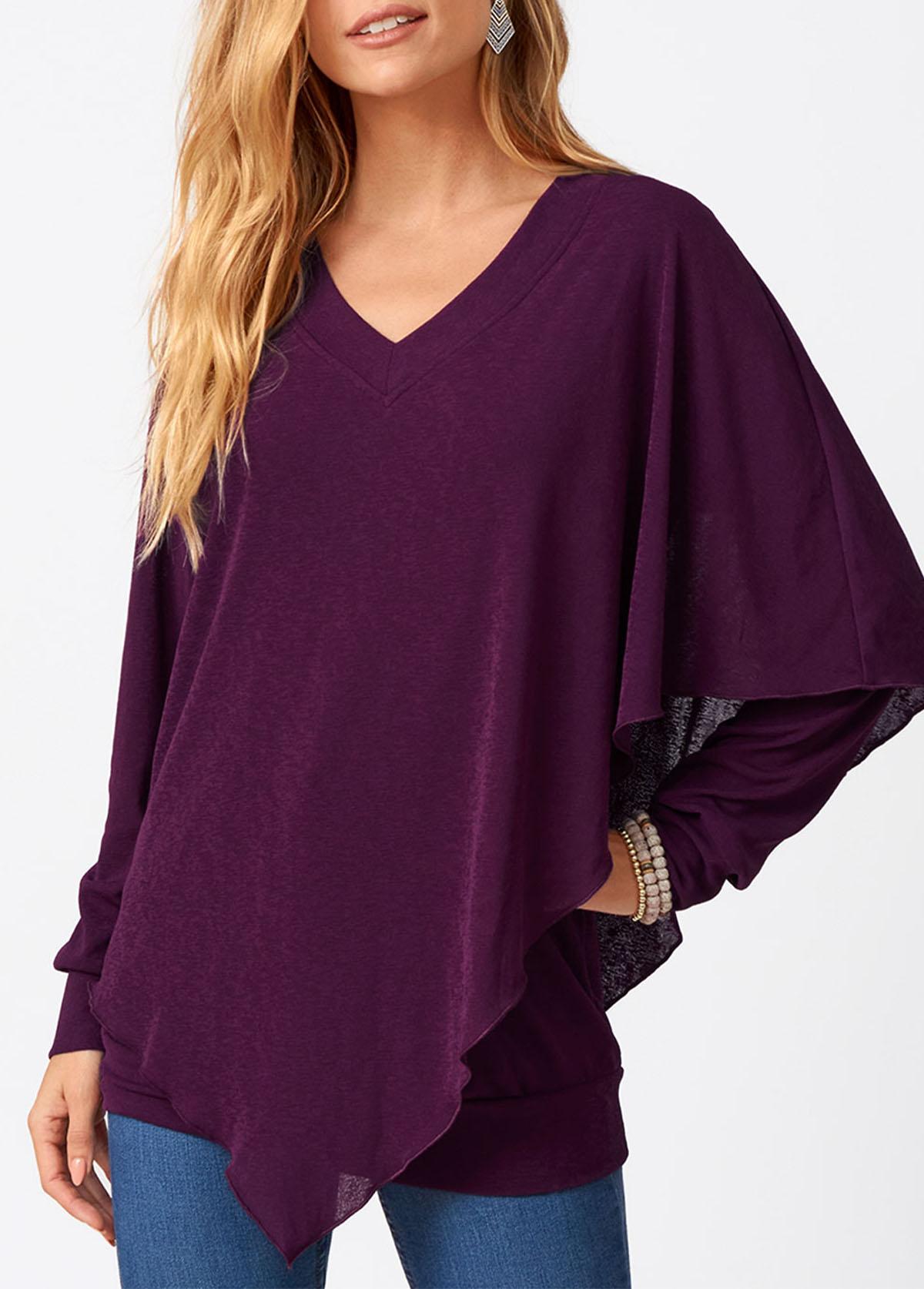 Asymmetric Hem V Neck Long Sleeve T Shirt
