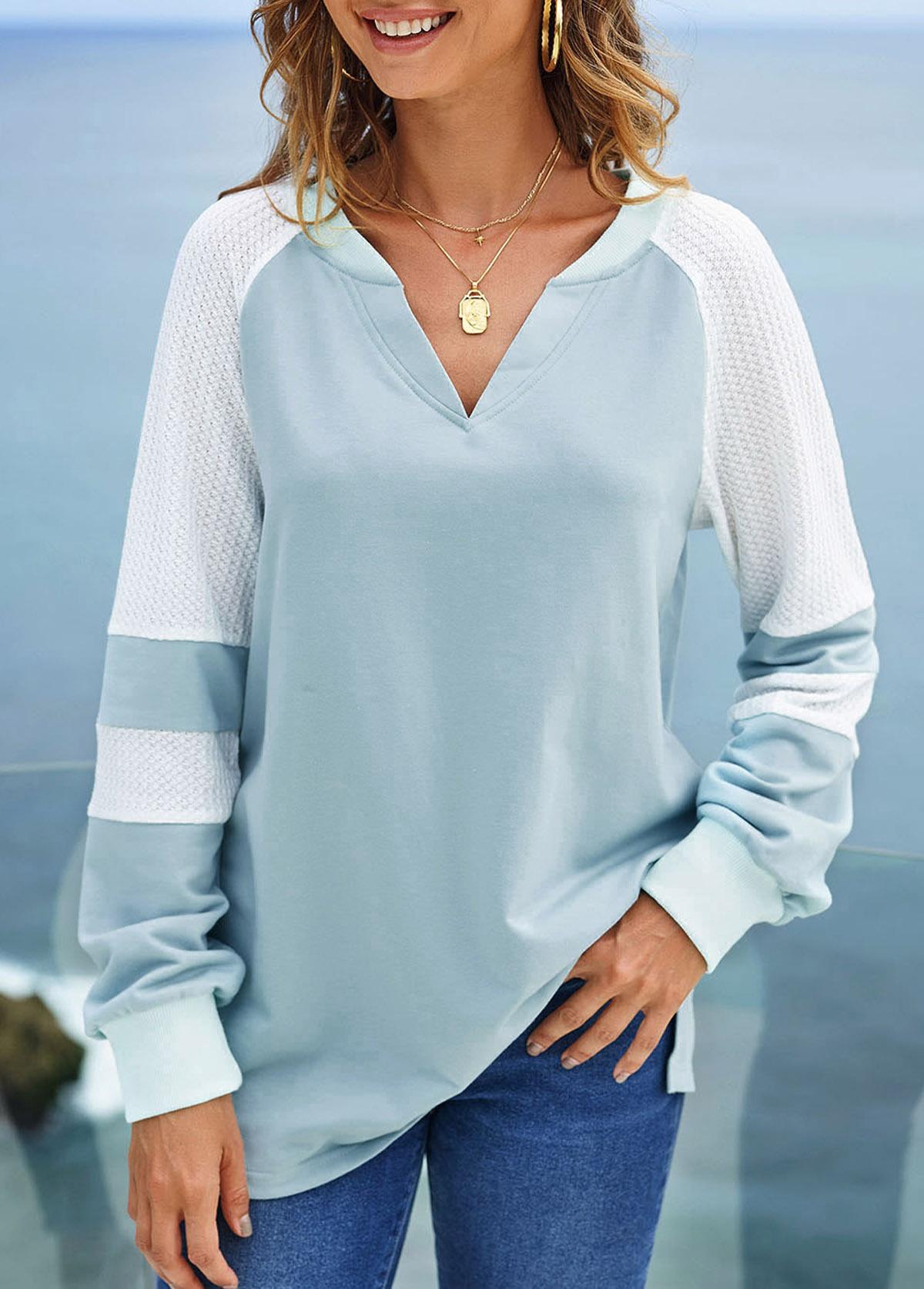 Long Sleeve Split Neck Contrast Sweatshirt