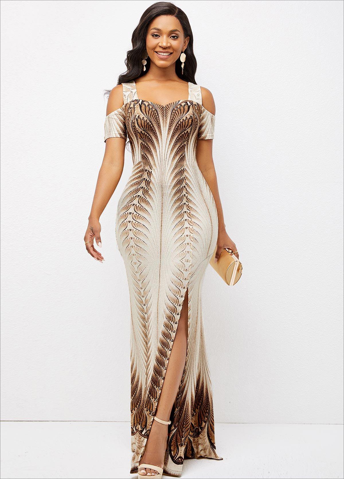 Texture Knitted Foil Print Side Slit Dress
