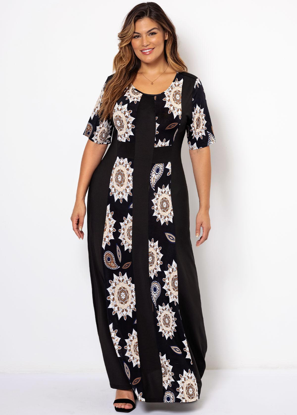 Plus Size Round Neck Tribal Print Dress