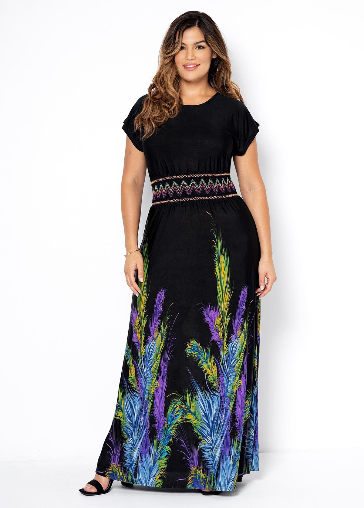 Printed Plus Size Short Sleeve Dress