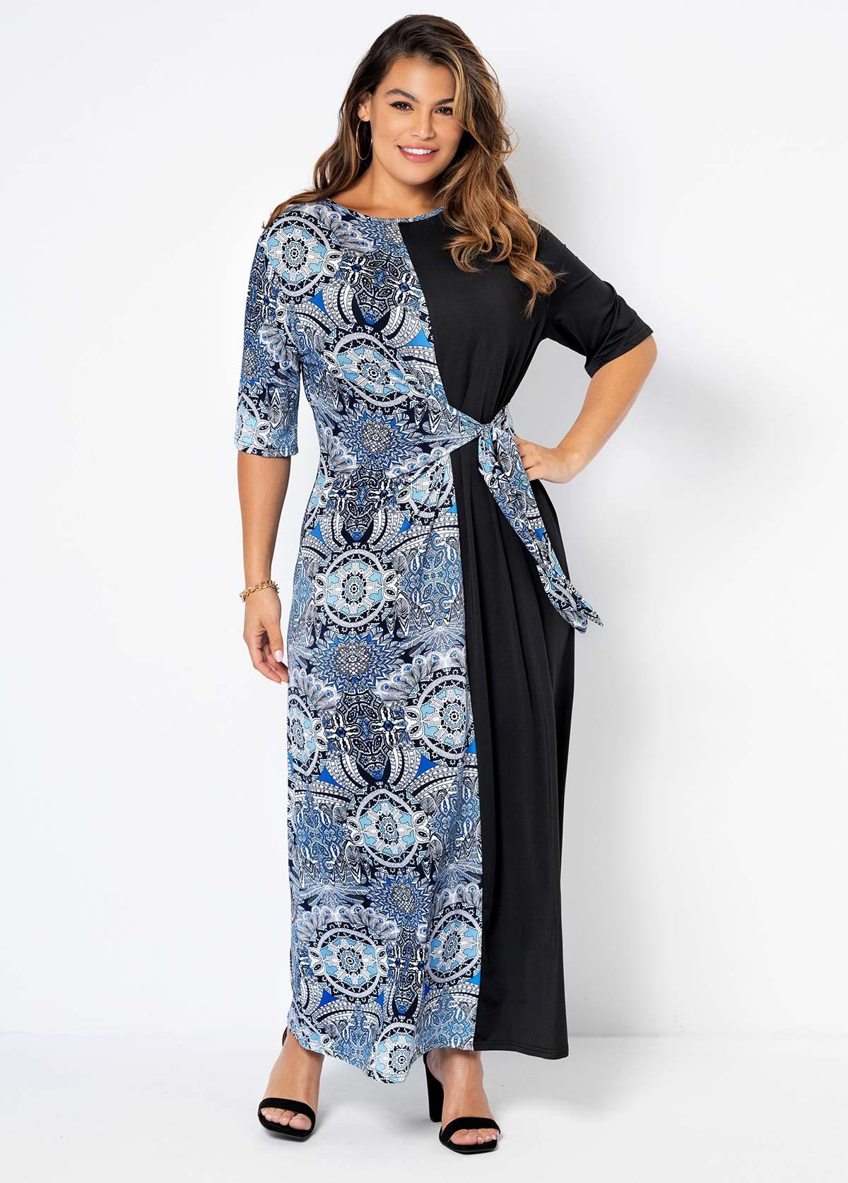 Plus Size Tribal Print Round Neck Dress