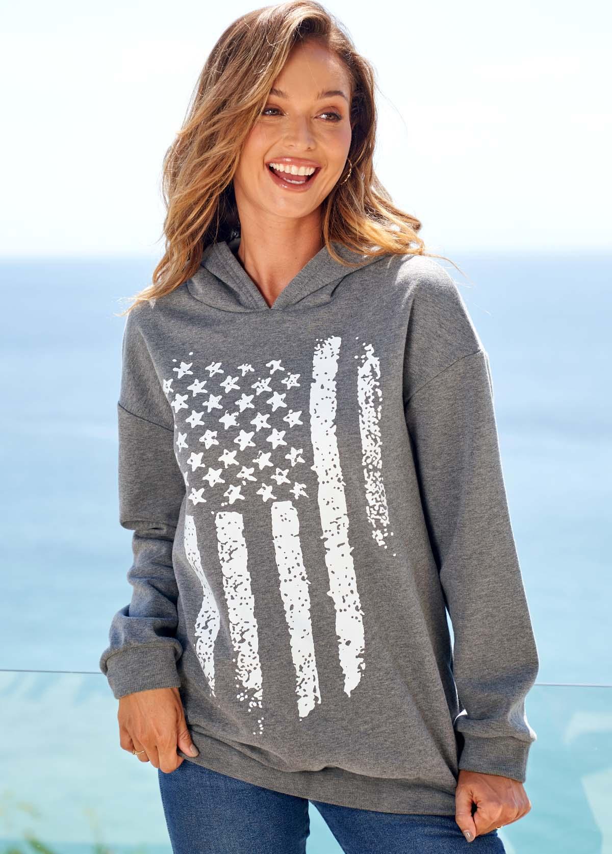 American Flag Print Long Sleeve Grey Hoodie