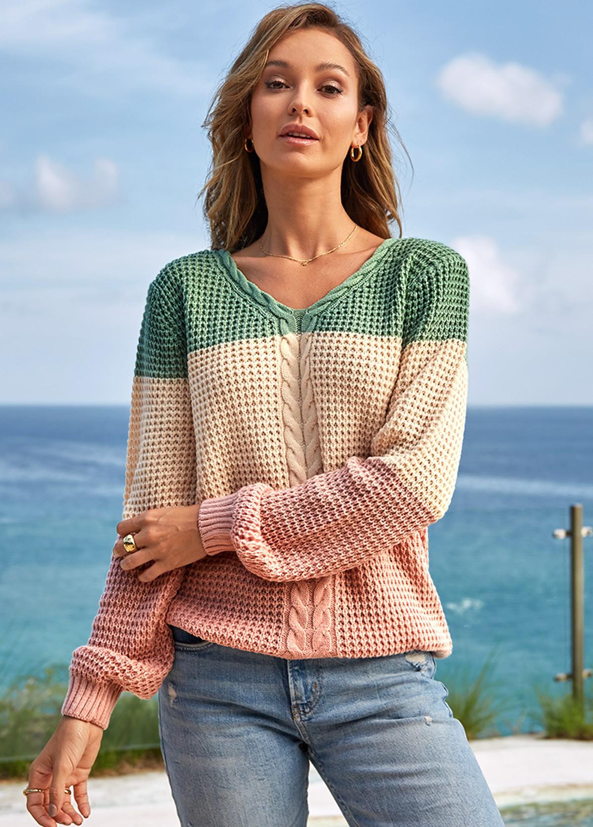Contrast Long Sleeve V Neck Sweater