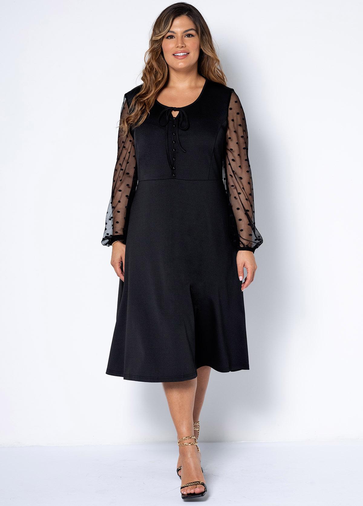 Plus Size Decorative Button Tie Front Dress