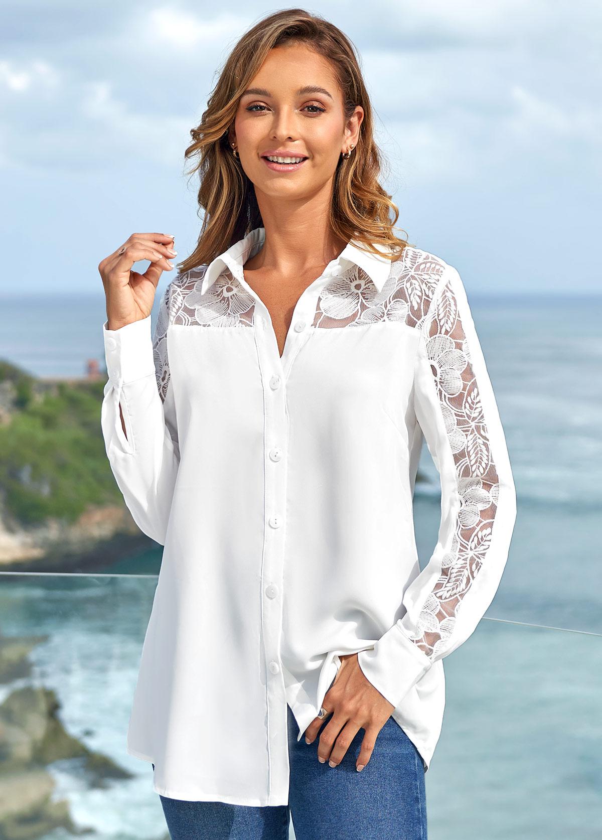Turndown Collar Lace Stitching Long Sleeve Blouse