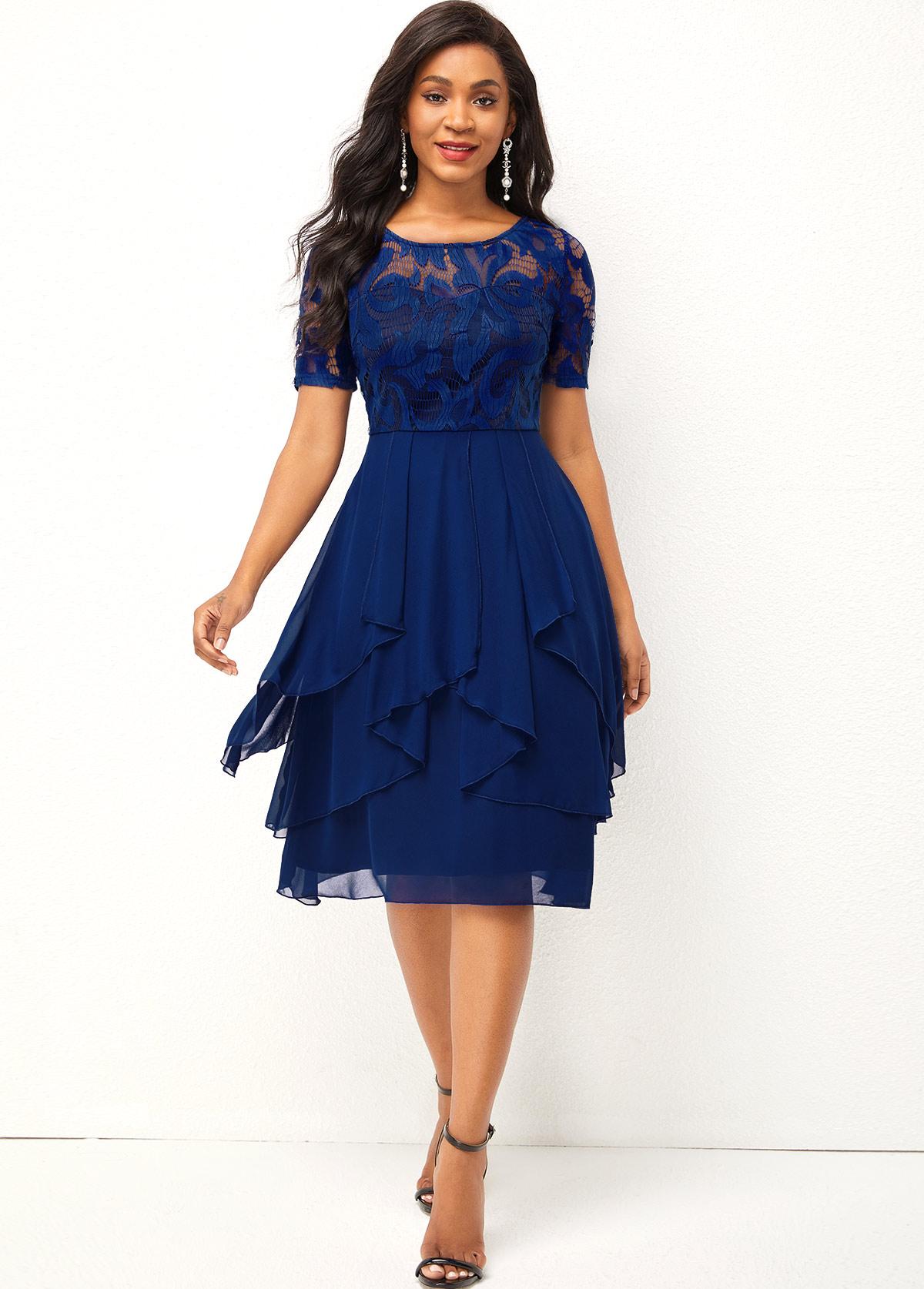 Chiffon and Lace Stitching Asymmetric Hem Round Neck Dress