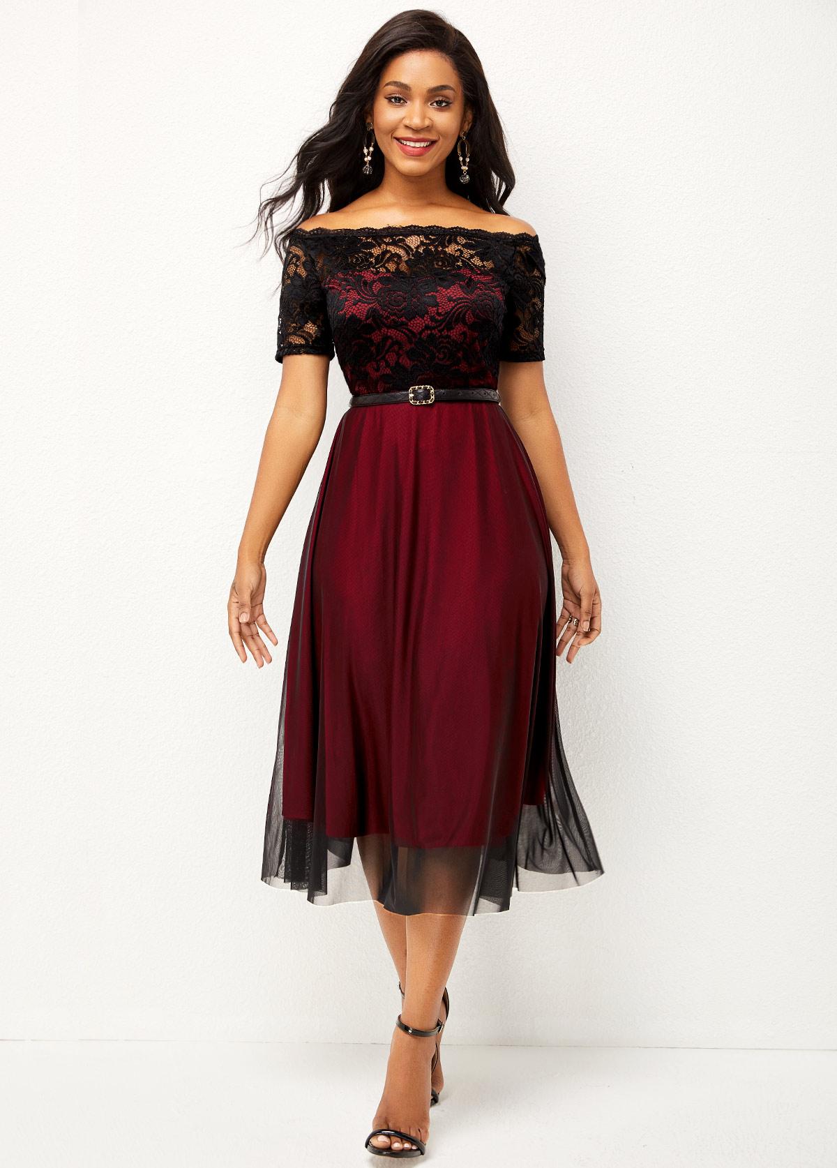 Short Sleeve Lace Patchwork Off Shoulder Dress
